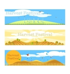 Harvest festival banners set vector