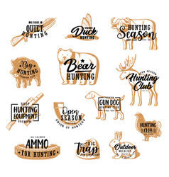 Hunting lettering icons hunt animals and ammo vector