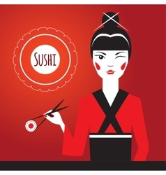 Japanese girl winks and holding sushi with vector image