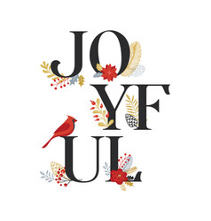 joyful merry christmas card with lettering vector image