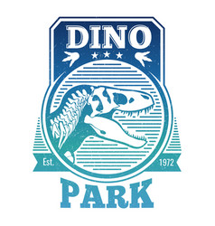 Jurasstic or dinosaur park label vector