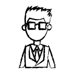 Man with suit and glasses image sketch vector