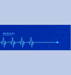Medial heartbeat line banner for healthcare vector