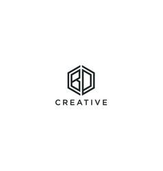 Modern logo letter initials bd vector