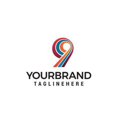 Number 9 logo design concept template vector