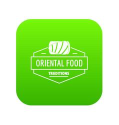 Oriental food icon green vector