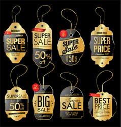 paper price tag retro vintage golden style design vector image