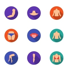 Part of body set icons in flat style Big vector