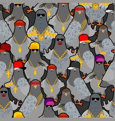 Pigeon gangster gang pattern seamless cool city vector