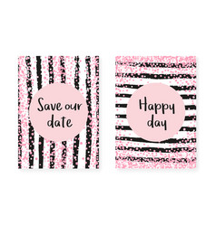 Pink glitter cards with dots and sequins wedding vector