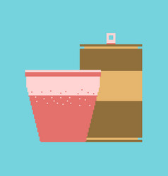 Pixel icon in flat style can of soda and glass vector