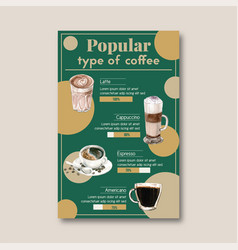 Popular type coffee cup american cappuccino vector