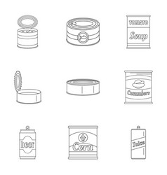 preserved icons set outline style vector image