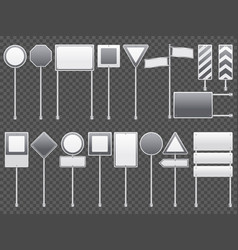 realistic road signs transparent set vector image