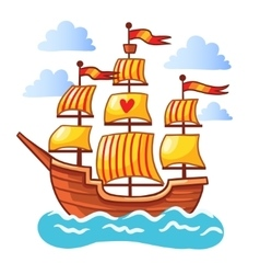 Sailing ship floating in water vector