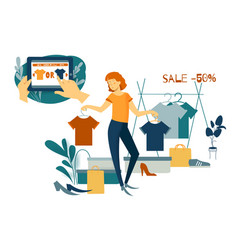 Sale consumerism and people concept young woman vector