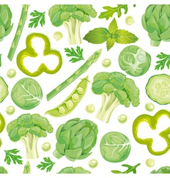 Seamless pattern of green vegetables vector image