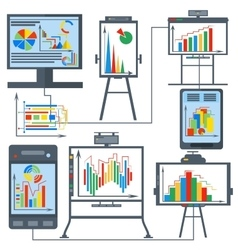 Set charts gadget computer phone vector