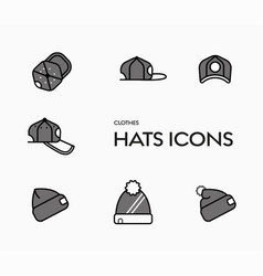 Set icons caps and winter hats vector