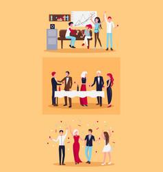 set of celebrating people on vector image