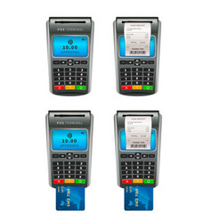 Set of realistic nfc pos terminals for payment by vector