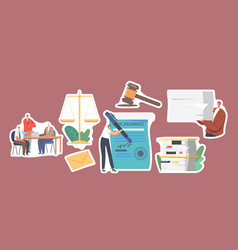 Set stickers characters signing legal documents vector