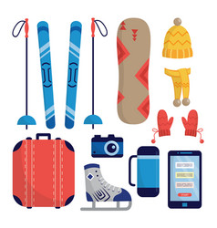 Set winter sports and traveling equipment flat vector