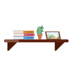 shelf with book plant and picture vector image