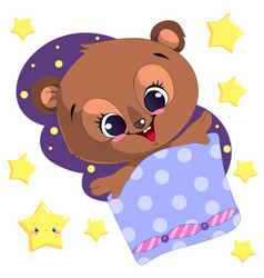 Sleeping cartoon bear clipart with moon and vector