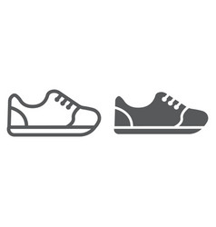 Sneakers line and glyph icon footwear and fashion vector