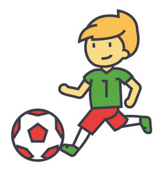 soccer boy playing football concept line vector image
