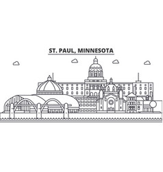 St paul minnesota architecture line skyline vector