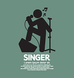 Standing Singer Black Graphic Symbol vector image