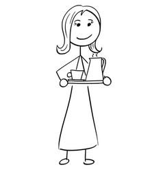 Stick man cartoon of woman female assistant vector