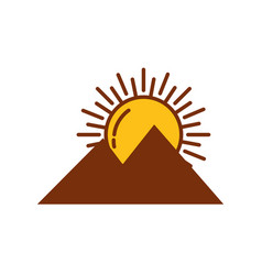 Sun hot with mountains fill style icon vector