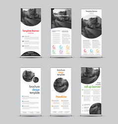 templates white roll-up banners with round and vector image