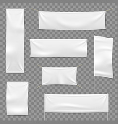 Textile advertising banners flags and hanging vector