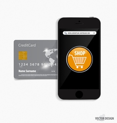 Touchscreen device with credit card electronic vector