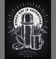 Travel inspiration vintage poster with thermos vector