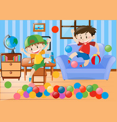 Two boys playing ball in the room vector