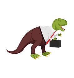 Tyrannosaurus businessman dino boss chief with vector