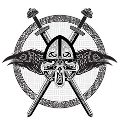 viking helmet crossed viking sword and in a vector image
