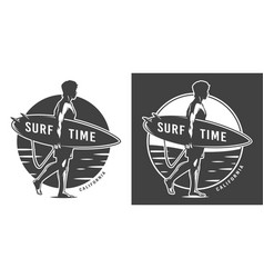 Vintage surf time monochrome emblem vector
