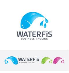 Water fish logo design vector