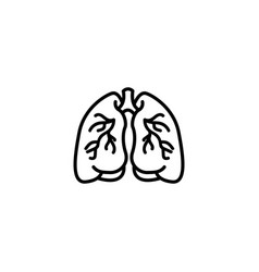 web line icon lungs black on white background vector image