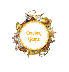 wild west cowboy elements vector image