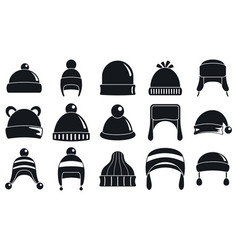 winter headwear accessory icon set simple style vector image