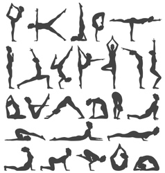 yoga poses collection set black icons isolated vector image