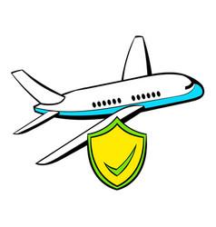 aircraft insurance icon cartoon vector image