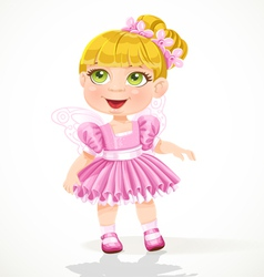 Cute little girl in a pink tutu and wings vector image vector image